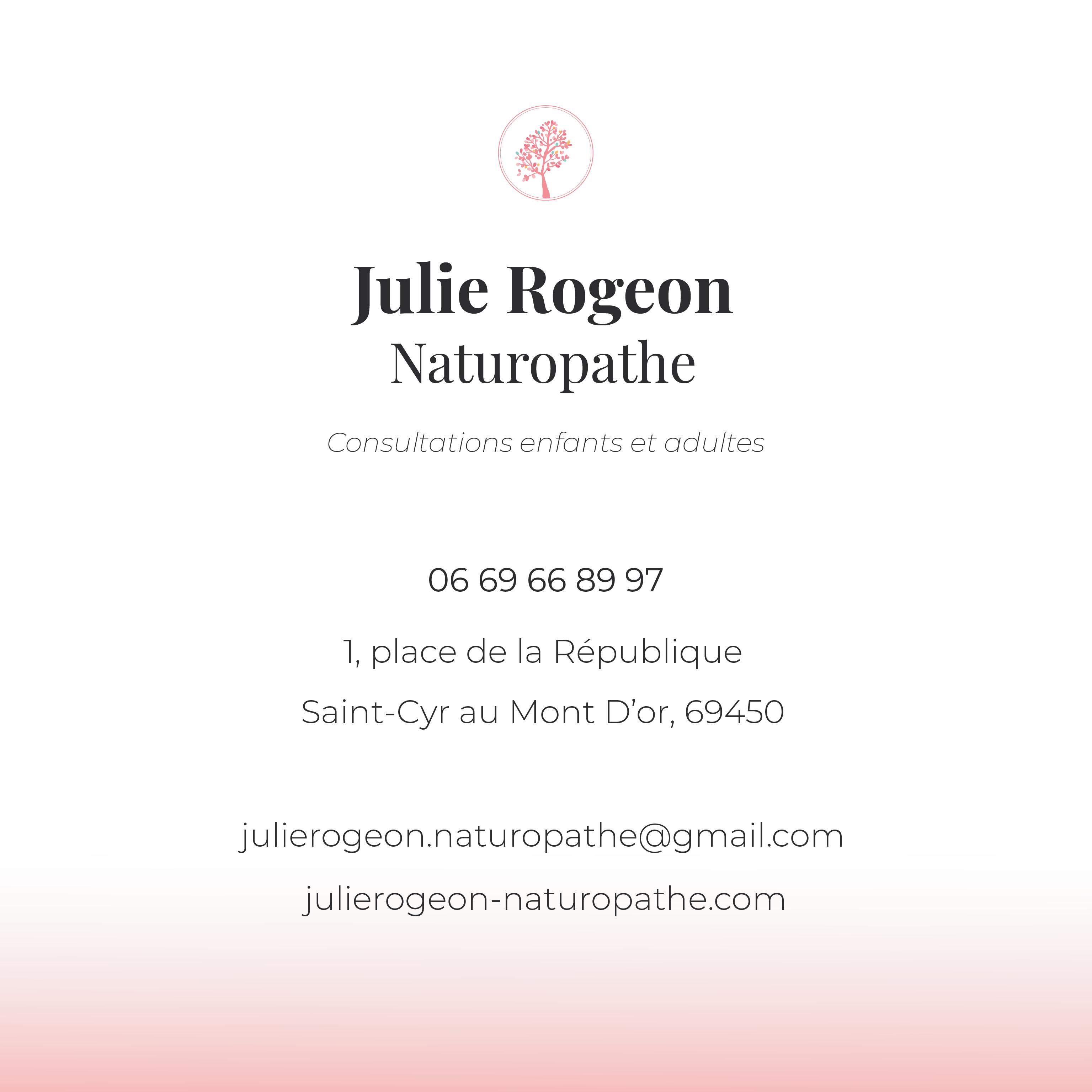 Julie Rogeon : Carte de visite - Verso